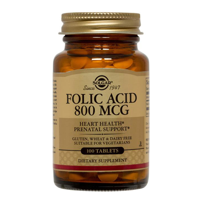 Solgar Folic Acid 800 mcg (100 Tablets)