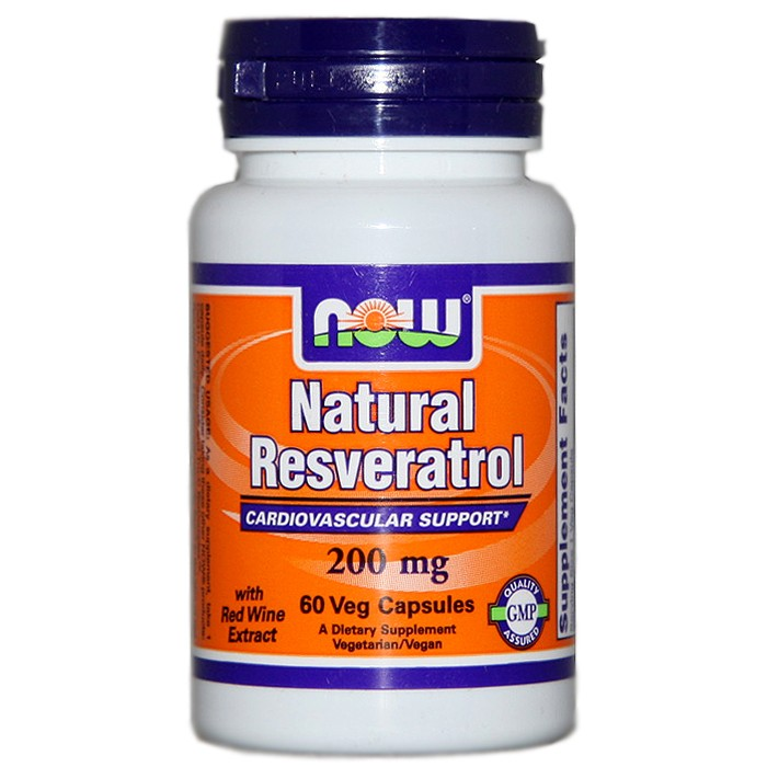 NOW Foods Natural Resveratrol 200 mg (60 Vcaps)