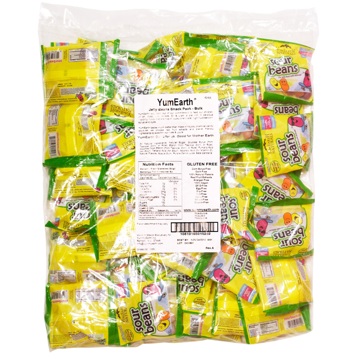 Yummy Earth Naturals Sour Jelly Beans Snack Pack - Bulk (50 Counts, 20g Each)