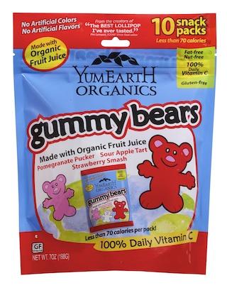 Yummy Earth Organic Gummy Bears Family Size (10 Snack Packs)