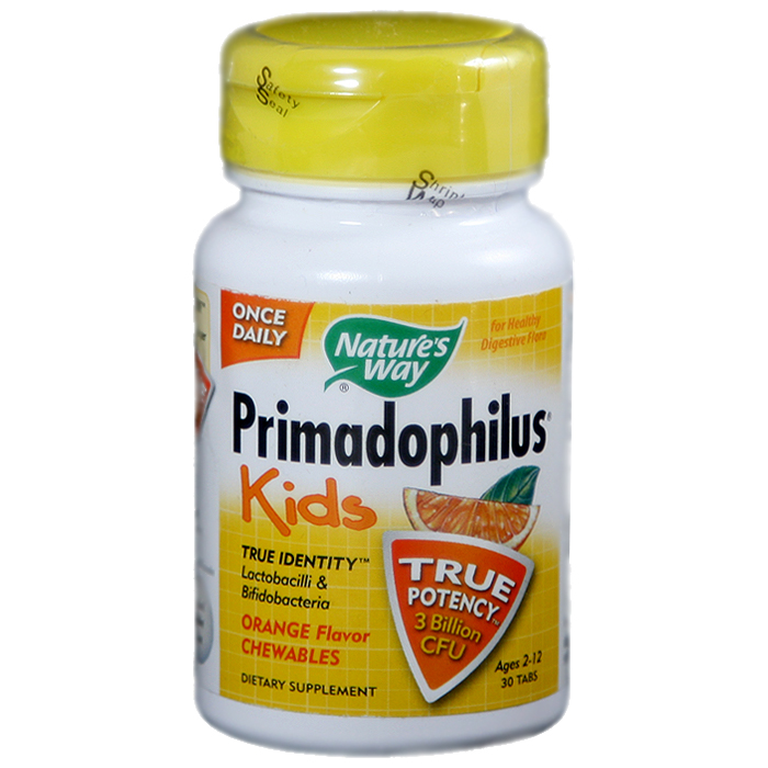 Nature's Way Primadophilus Kids Orange Flavor Chewables (30 Tablets)