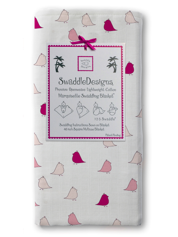Swaddle Designs Marquisette Swaddling Blanket: Pink, Very Berry Little Chickies