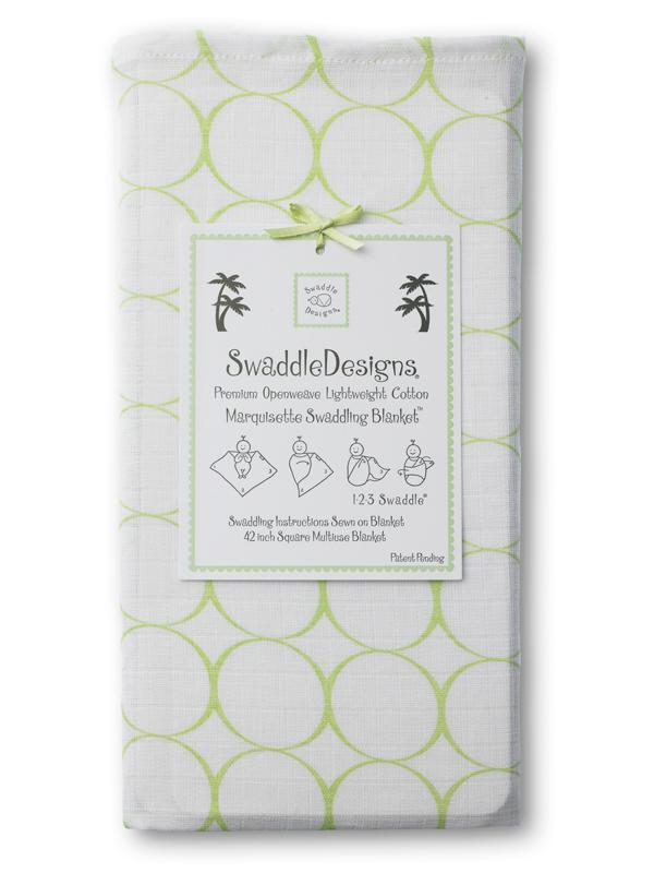 Swaddle Designs Marquisette Swaddling Blanket: Kiwi Mod Circles on White