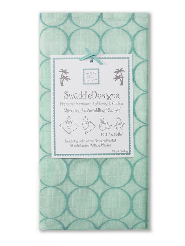Swaddle Designs Marquisette Swaddling Blanket: Sea Crystal with Turquoise Mod Circles