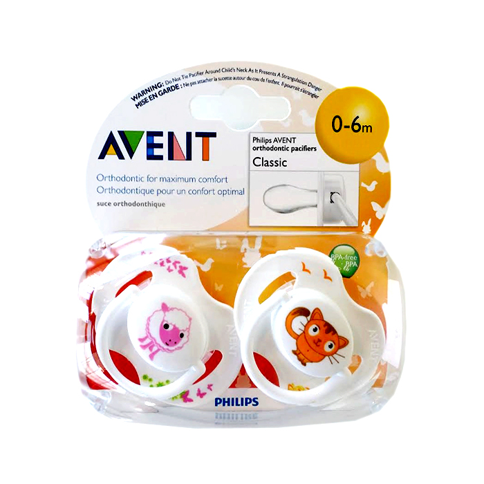Philips AVENT Animal Pacifiers: Classic ? Colors and Designs May Vary (0-6m)