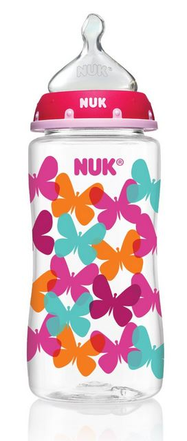NUK Fashion Orthodontic Bottle, Pink, Butterflies, Girl (10 oz)