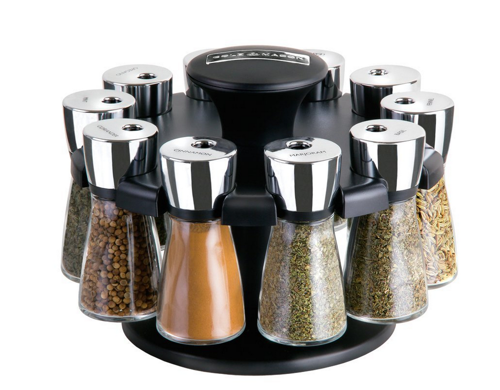 Cole & Mason Herb and Spice Carousel rack( With 10 Glass Jars and Spices)