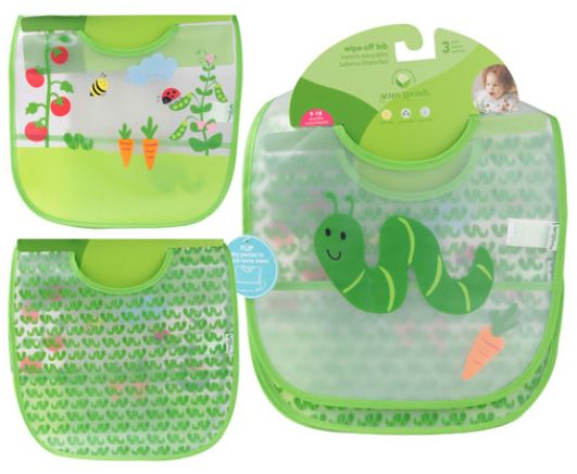 I play Green Sprouts Waterproof wipe off Bib(Green Worm,9-18 months 3pk)