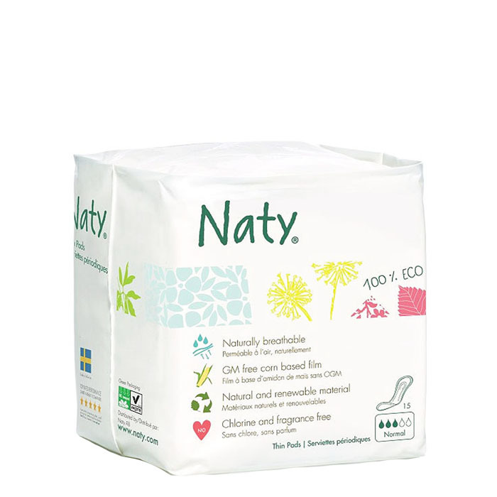 Naty 100% Natural Thin Pads, Normal(15 ct)