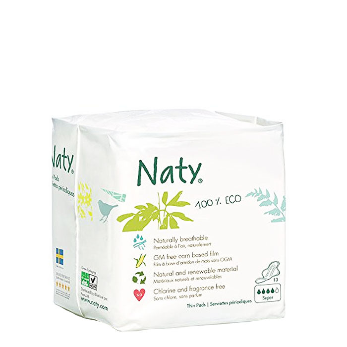 Naty 100% Eco Thin Pads, Super(13 ct)
