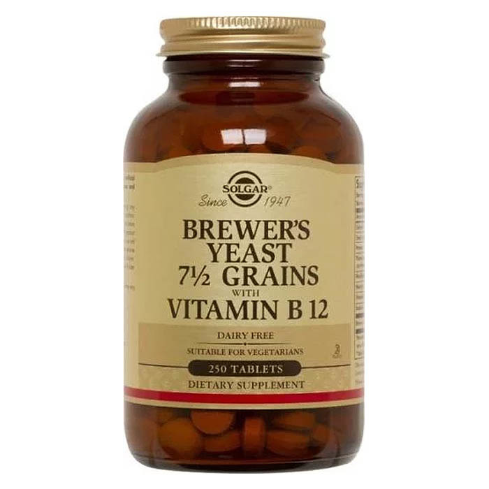 Solgar Brewer's Yeast 7 1/2 Grains with Vitamin B12,  250 tablets