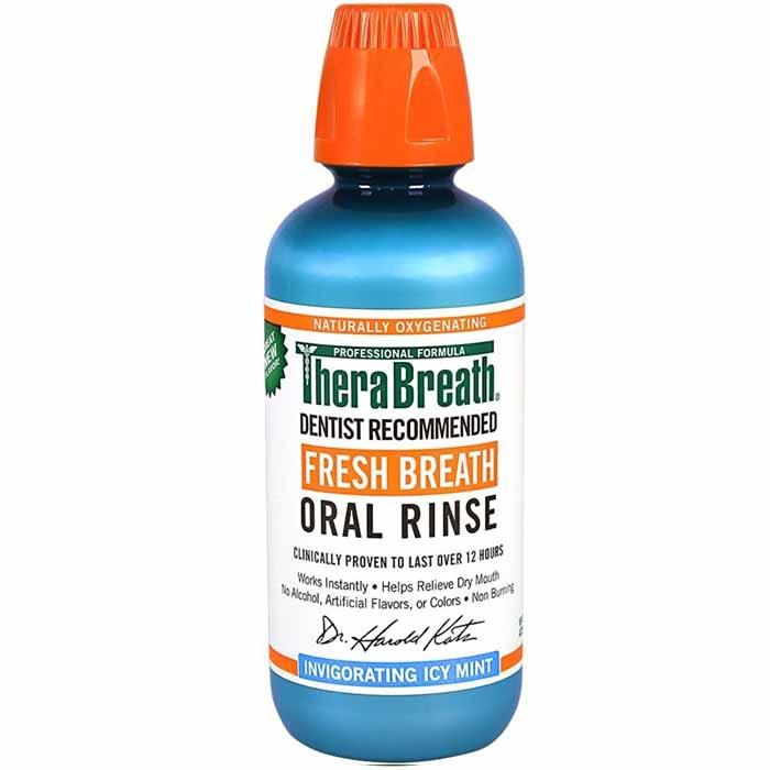 TheraBreath Fresh Breath Oral Rinse, Icy mint(16 oz)