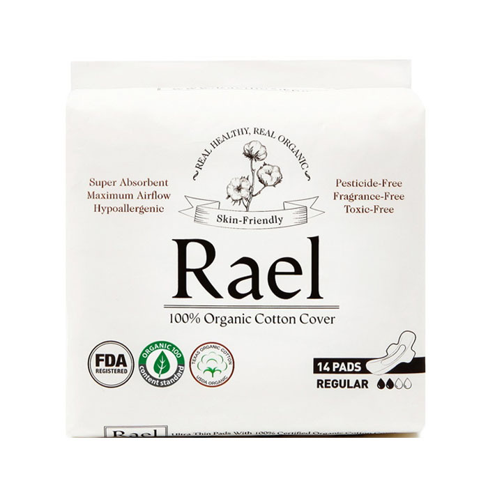 Rael Organic Cotton Feminie Pads, Regular(14ct)