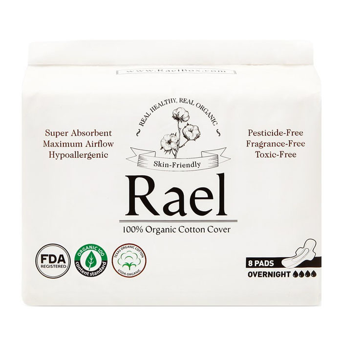 Rael Organic Cotton Feminine Pads, Overnight(8ct)