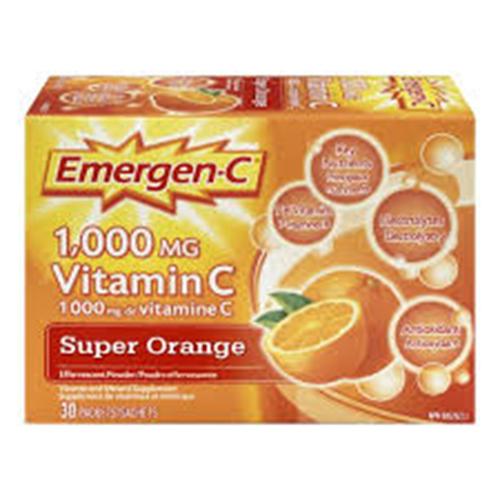 Emergen-C 1000mg Vitamin C Super Orange, 30 counts