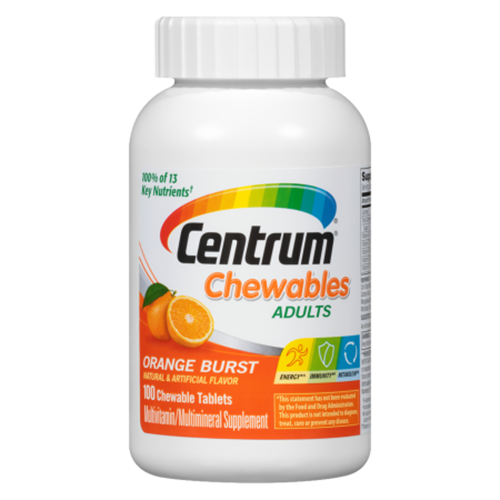 Centrum Chewable Multivitamin for Adults, Orange Burst (100 Chewable Tablets)