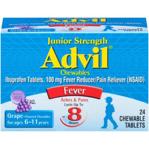 Advil Junior Strength 100mg, 24 Grape Chewables (For Fever)