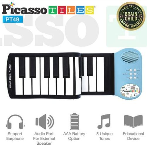 PicassoTiles Kid's 49-Key Flexible Roll-Up Educational Keyboard