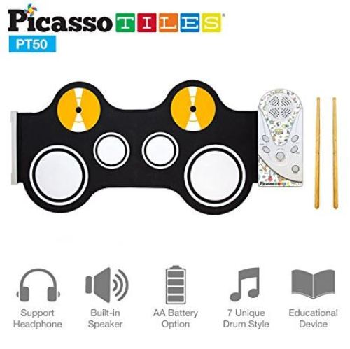 PicassoTiles Flexible Roll-Up Educational Electronic Drum Kit