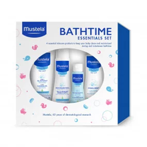 Mustela Baby Bathtime Essentials Gift Set for baby bath time and skin care, 4 items