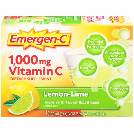Emergen-C 1000mg Vitamin C Lemon Lime, 30 counts