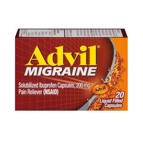 Advil Solubilized Ibuprofen 200 mg Pain Reliever (Nsaid) Advil Migraine,20 Liquid Capsules
