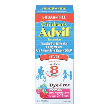 Children's Advil Sugarfree Liquid Suspension Fever Reducer/Pain Reliever (Ibuprofen) in Dye-Free Berry Flavor 100mg, 4oz/120ml